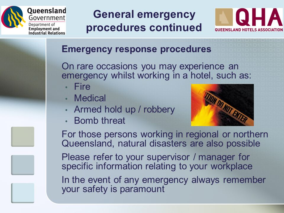 General emergency procedures continued