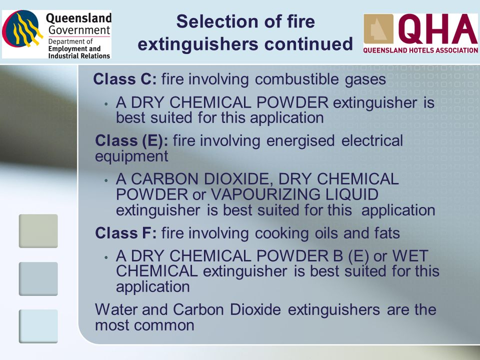 Selection of fire extinguishers continued
