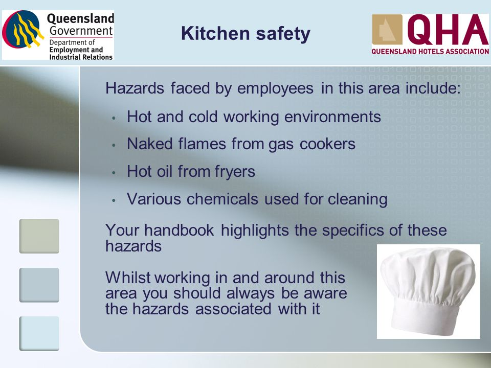 Hazards faced by employees in this area include: