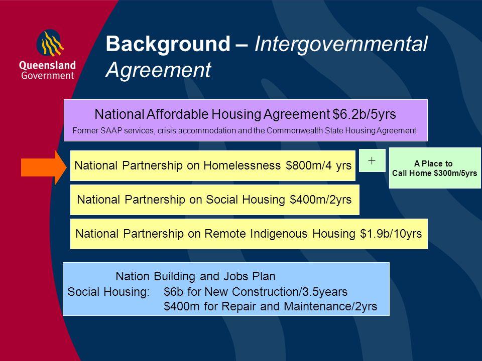Background – Intergovernmental Agreement