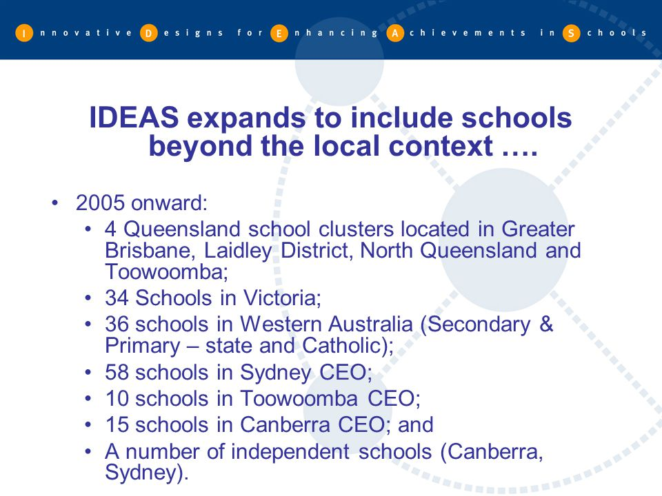 IDEAS expands to include schools beyond the local context ….