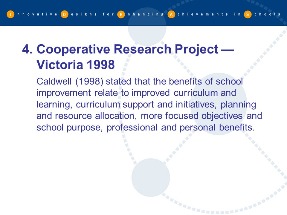Cooperative Research Project — Victoria 1998