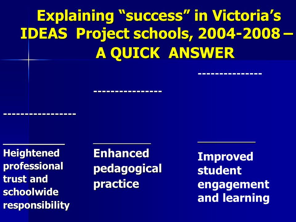Explaining success in Victoria's IDEAS Project schools, 2004-2008 – A QUICK ANSWER