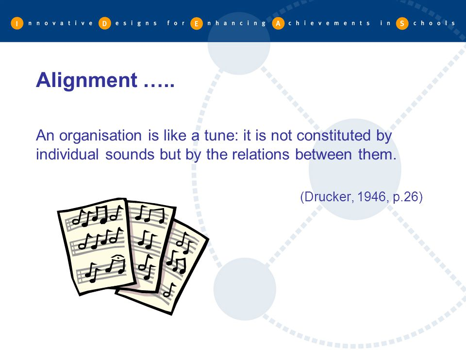 Alignment ….. An organisation is like a tune: it is not constituted by individual sounds but by the relations between them.