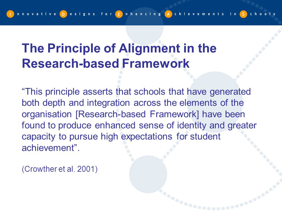 The Principle of Alignment in the Research-based Framework