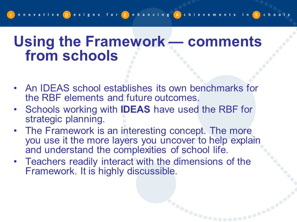 Using the Framework — comments from schools