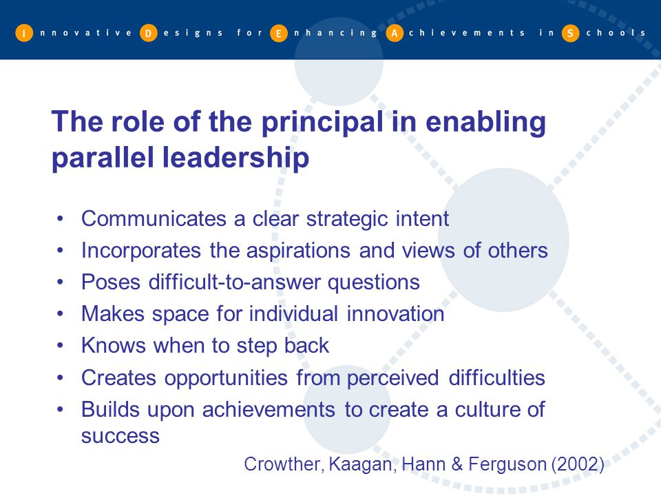 The role of the principal in enabling parallel leadership