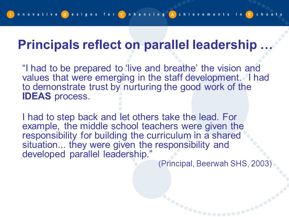 Principals reflect on parallel leadership …