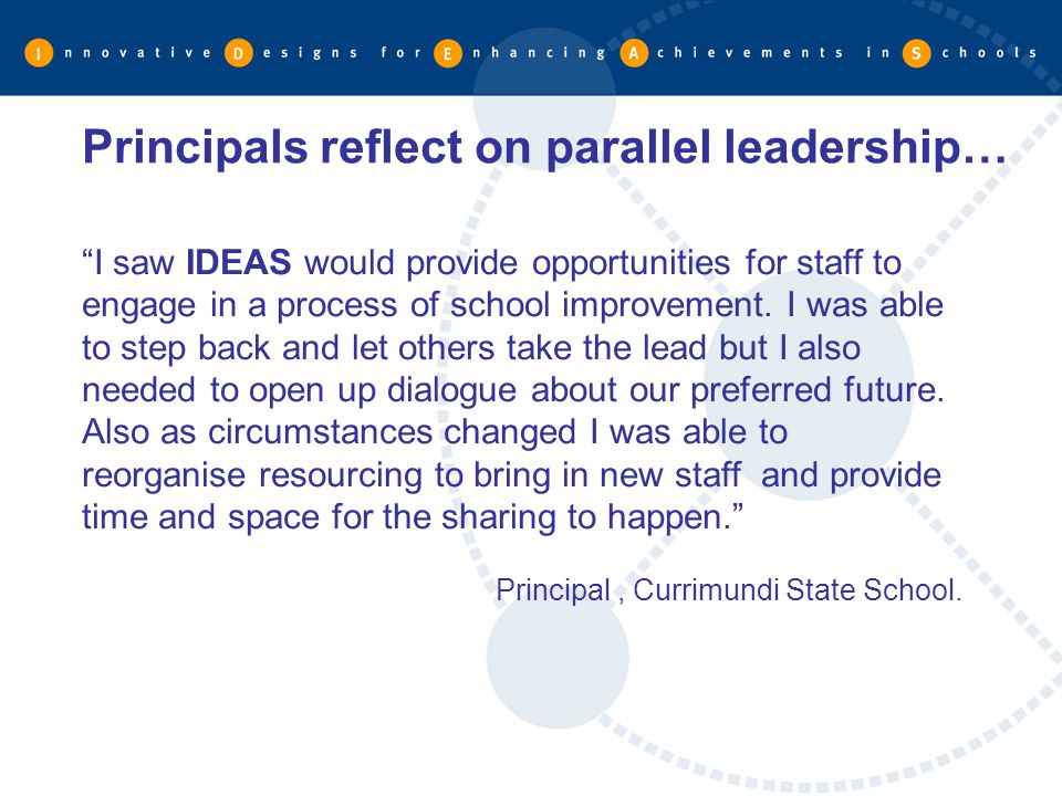 Principals reflect on parallel leadership…