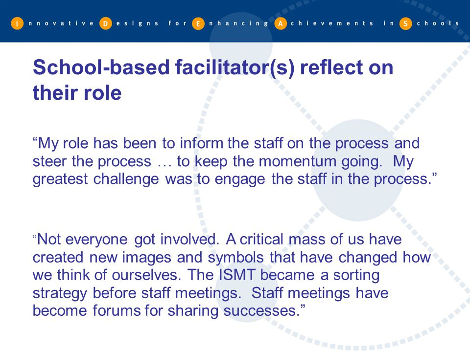 School-based facilitator(s) reflect on their role