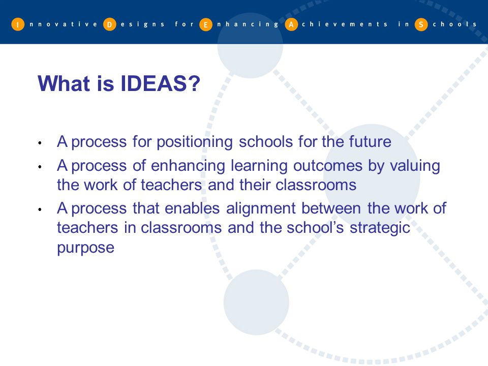 What is IDEAS A process for positioning schools for the future