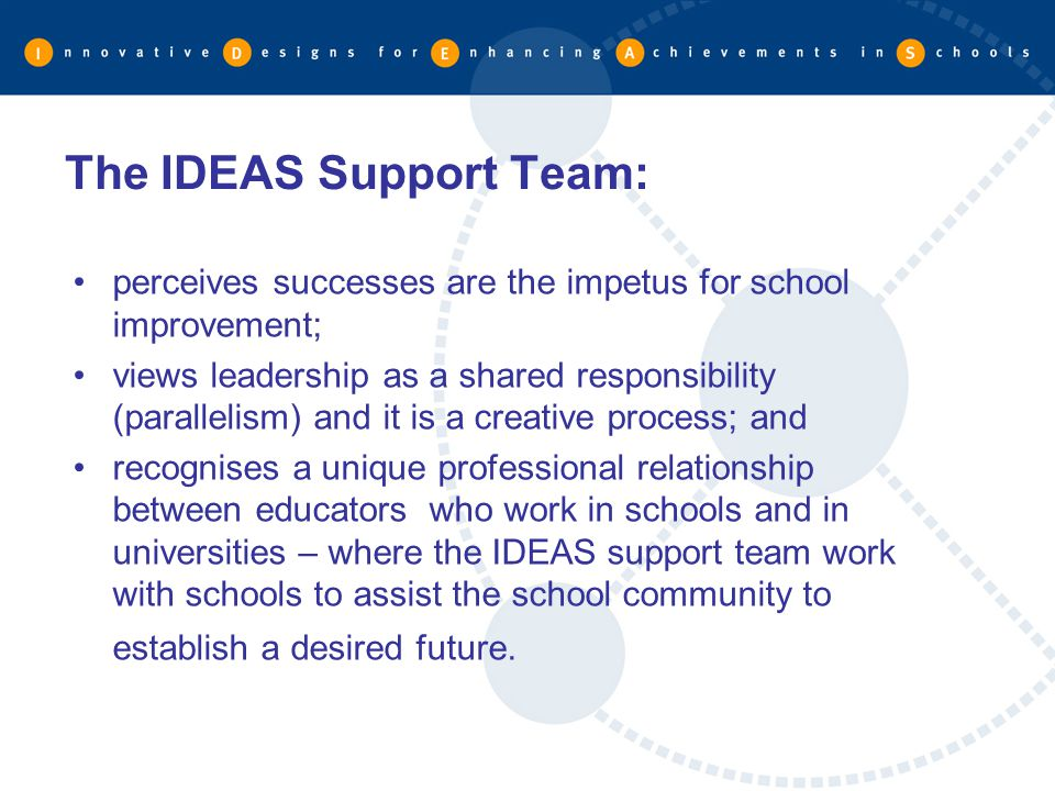 The IDEAS Support Team: