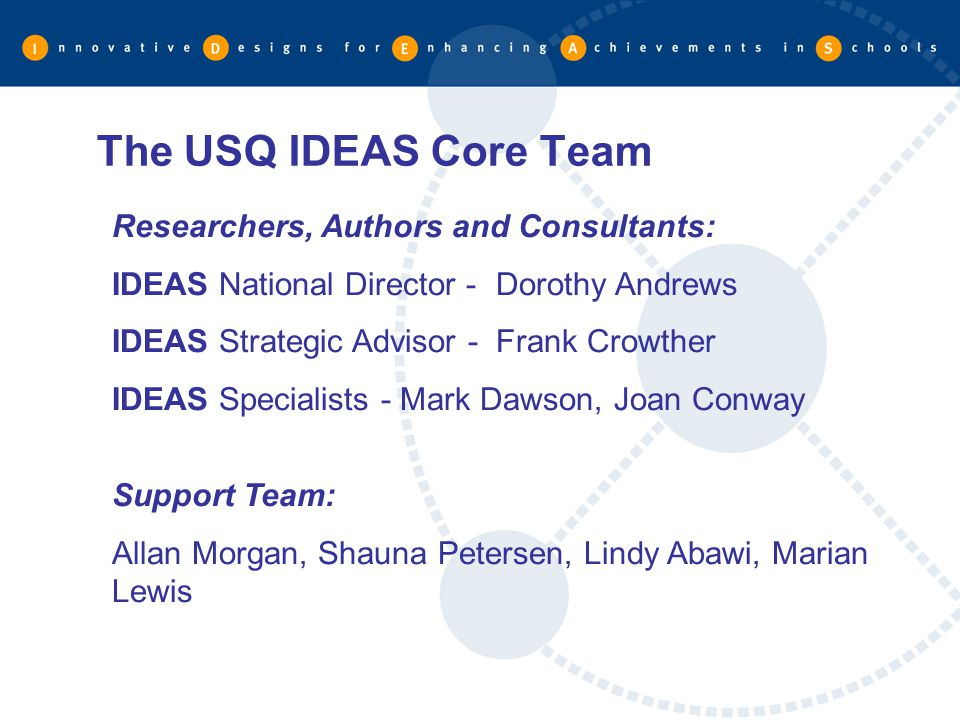 The USQ IDEAS Core Team Researchers, Authors and Consultants: