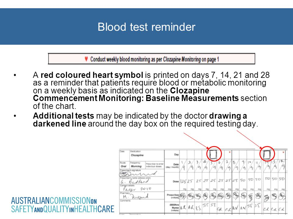 Blood test reminder