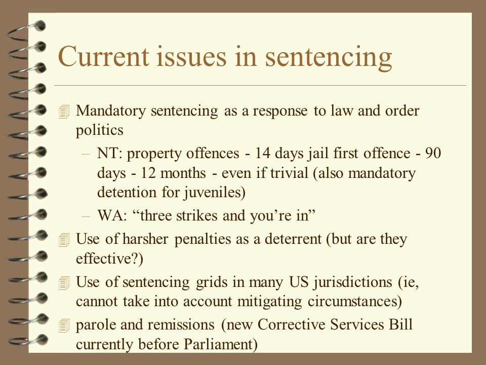 Current issues in sentencing