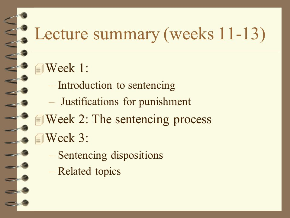 Lecture summary (weeks 11-13)