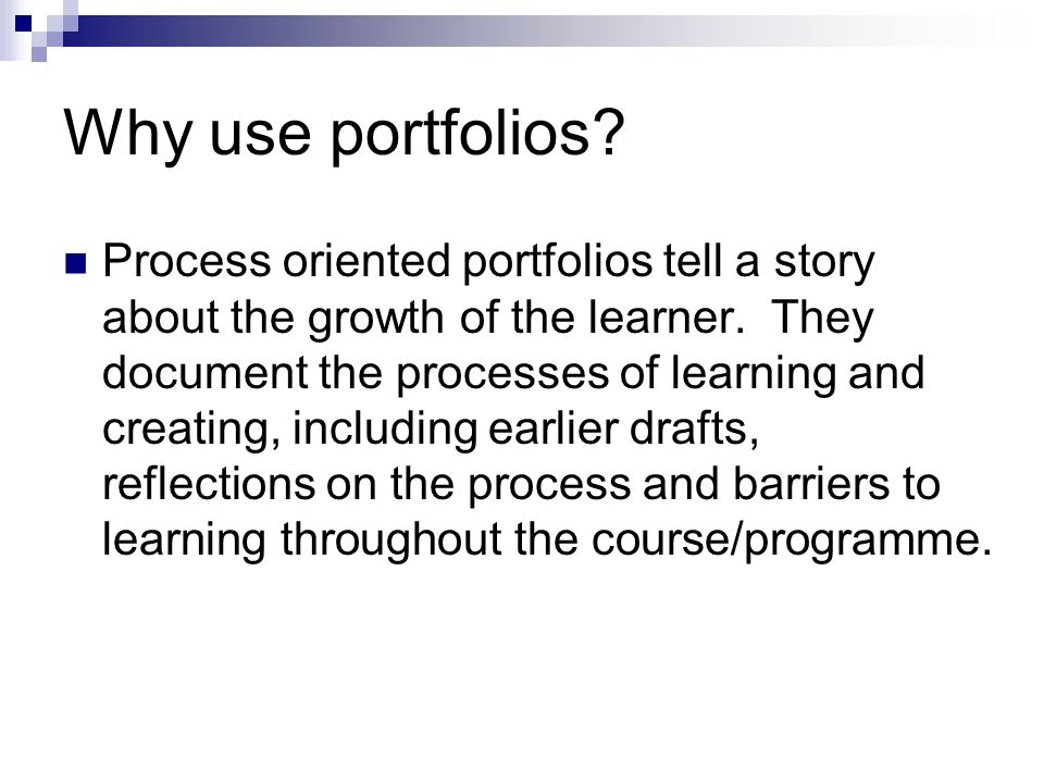 Why use portfolios