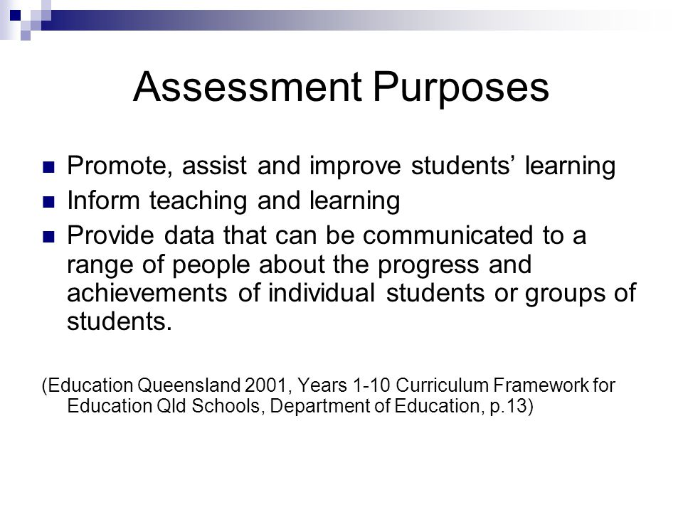 Assessment Purposes Promote, assist and improve students' learning