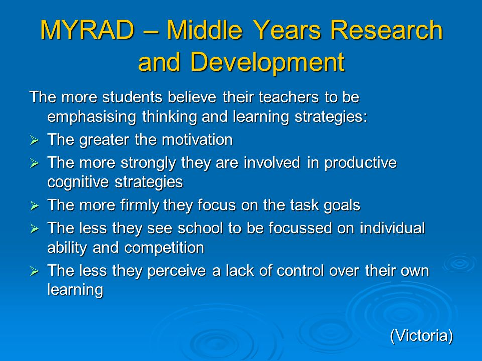 MYRAD – Middle Years Research and Development