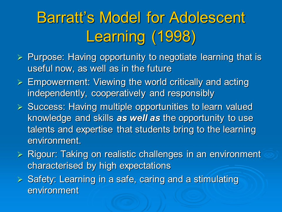 Barratt's Model for Adolescent Learning (1998)