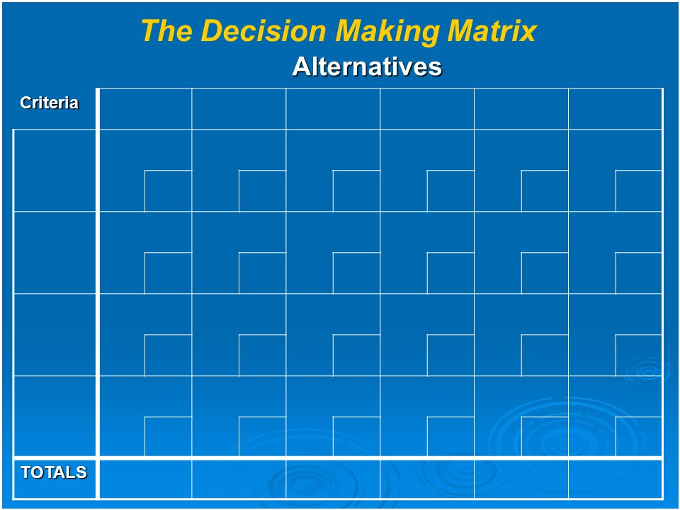 The Decision Making Matrix