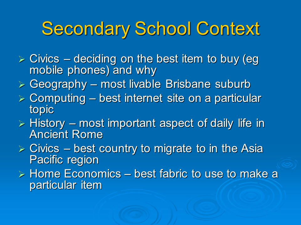 Secondary School Context