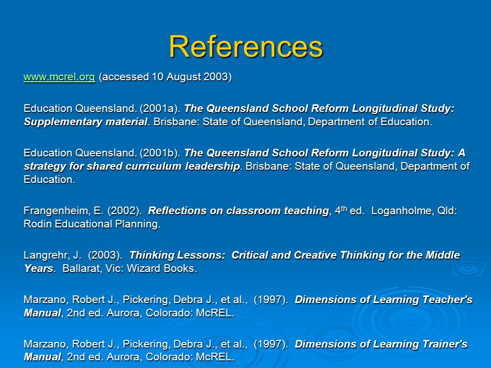 References www.mcrel.org (accessed 10 August 2003)