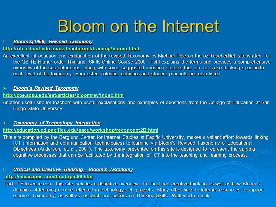 Bloom on the Internet Bloom s(1956) Revised Taxonomy