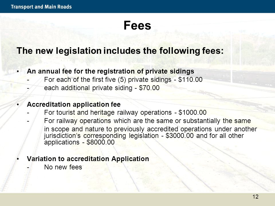 Fees The new legislation includes the following fees: