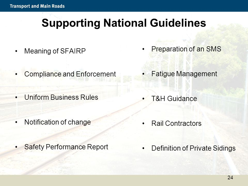 Supporting National Guidelines