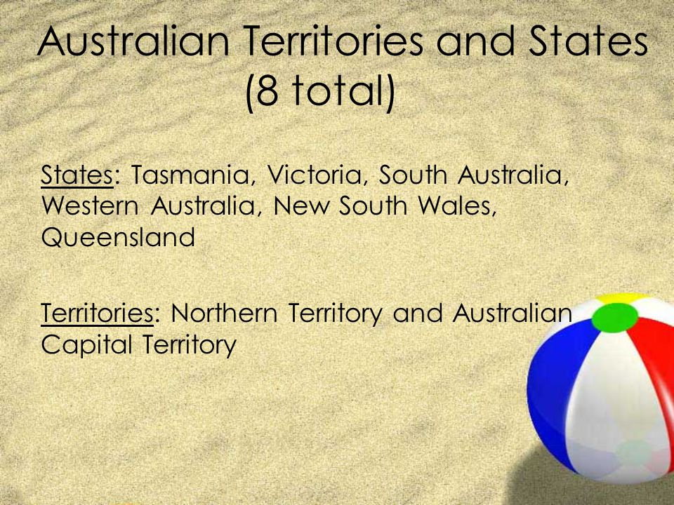 Australian Territories and States (8 total)