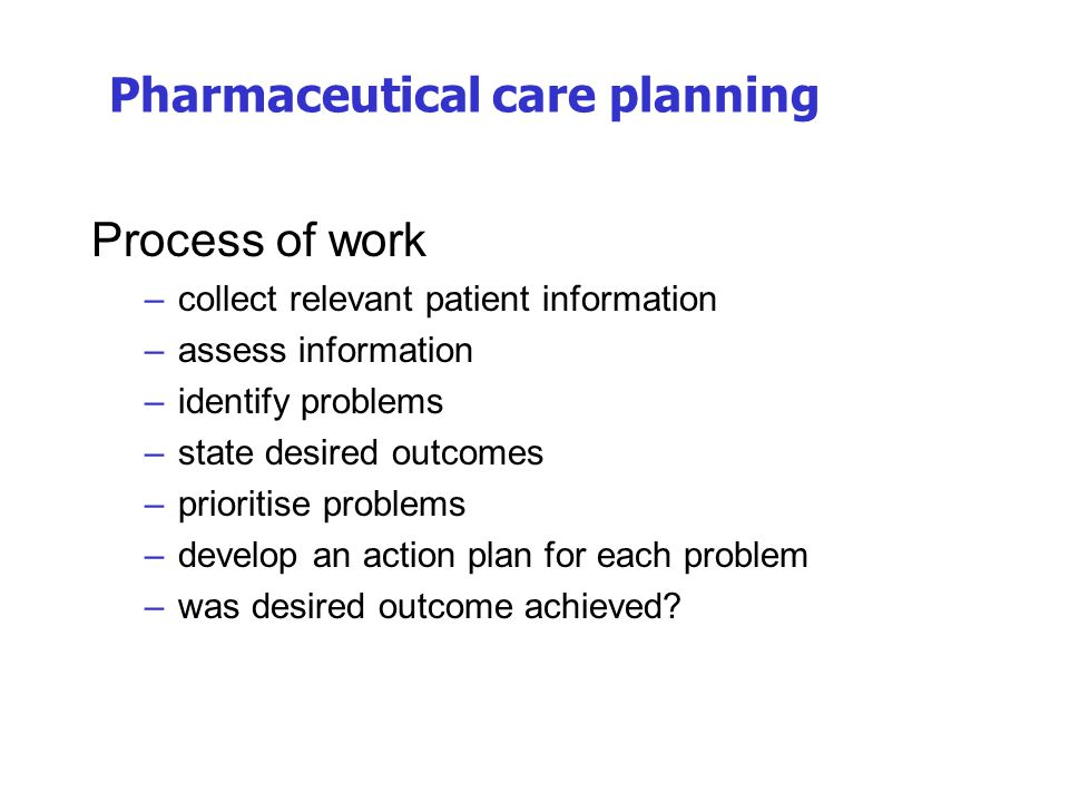 Pharmaceutical care planning