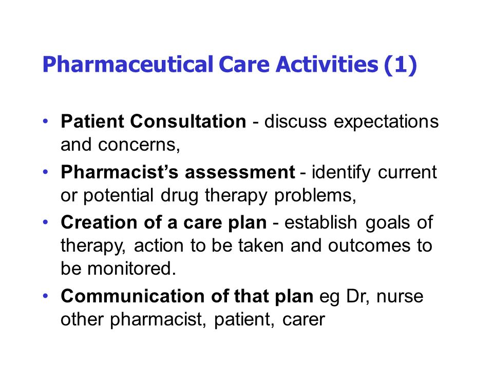 Pharmaceutical Care Activities (1)