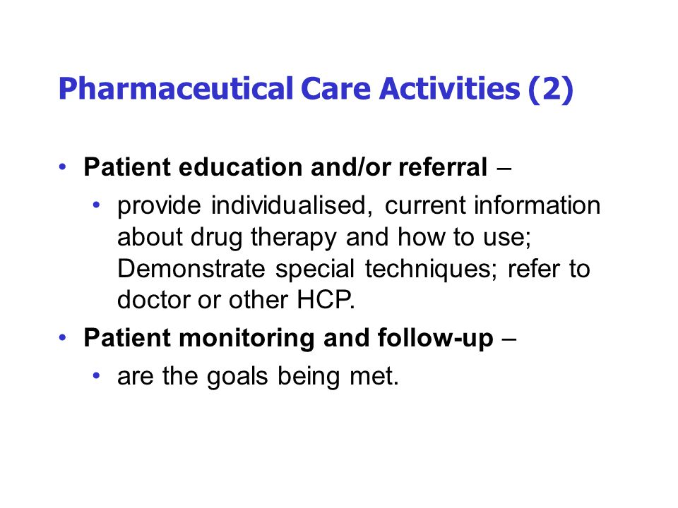 Pharmaceutical Care Activities (2)