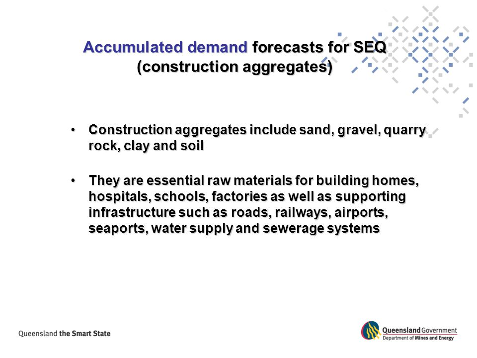 Accumulated demand forecasts for SEQ (construction aggregates)