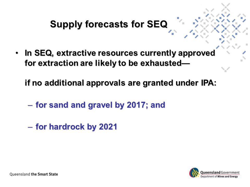 Supply forecasts for SEQ