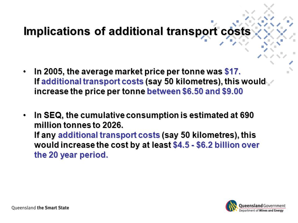 Implications of additional transport costs
