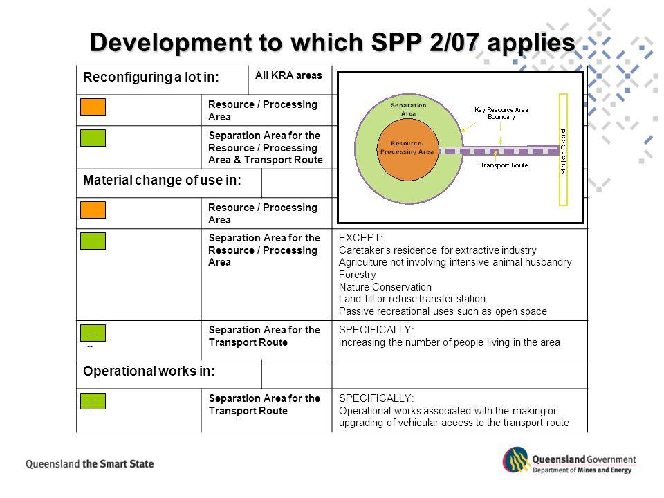 Development to which SPP 2/07 applies