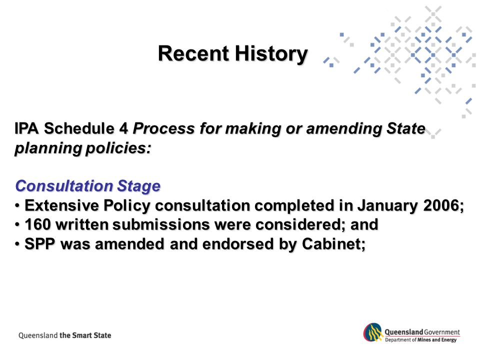 Recent History IPA Schedule 4 Process for making or amending State planning policies: Consultation Stage.