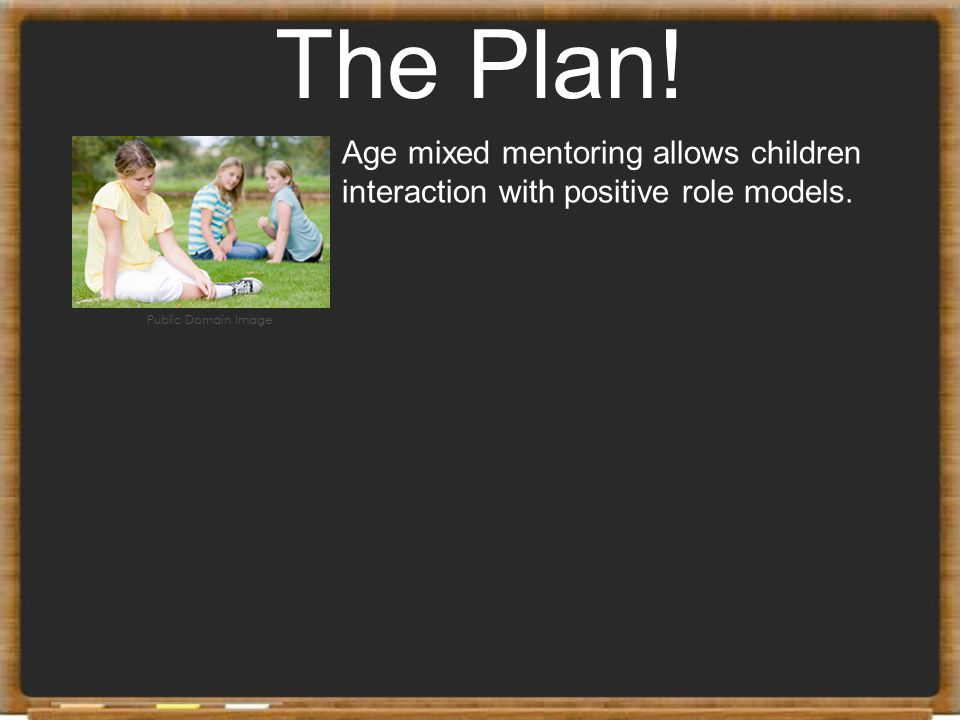 The Plan. Age mixed mentoring allows children interaction with positive role models.