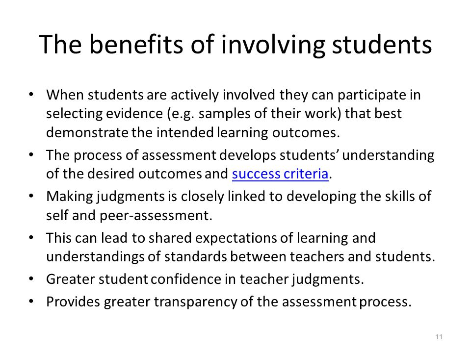 The benefits of involving students