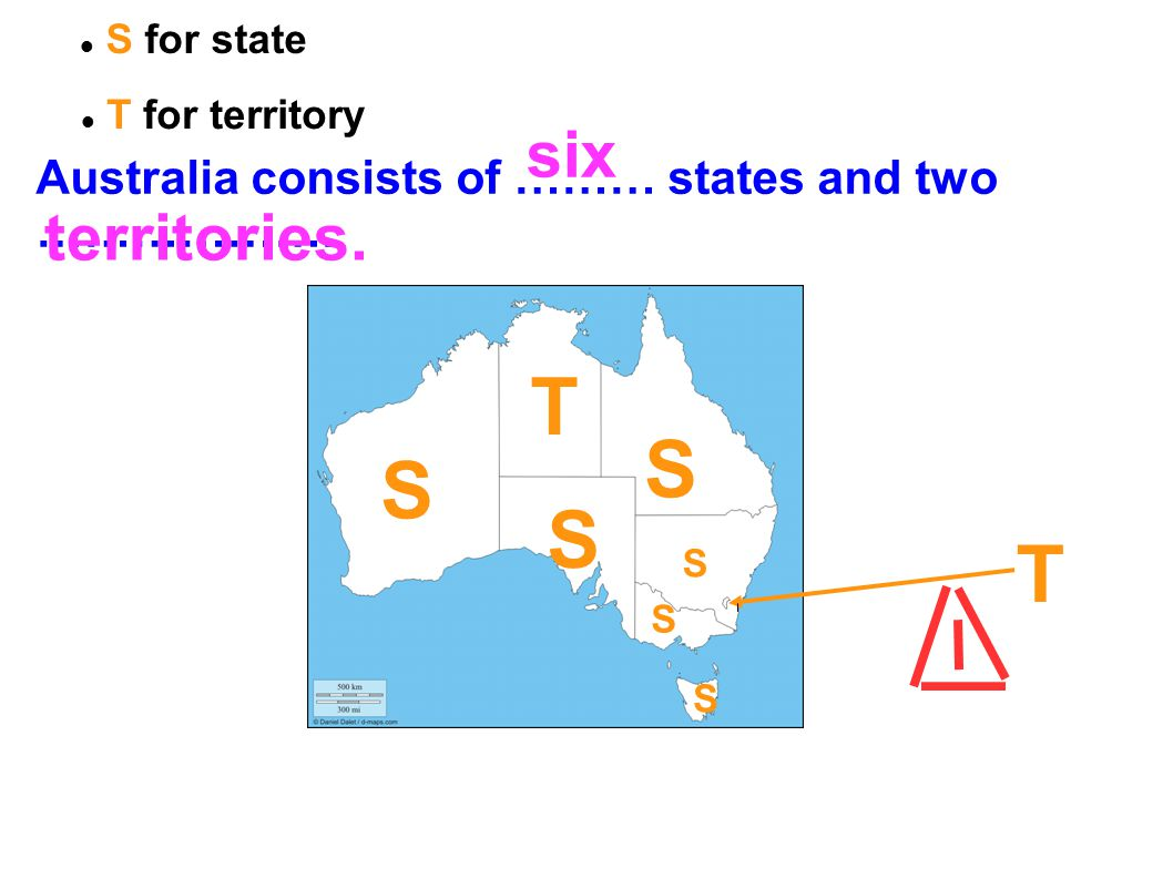 T S S S T six territories. Australia consists of ……… states and two