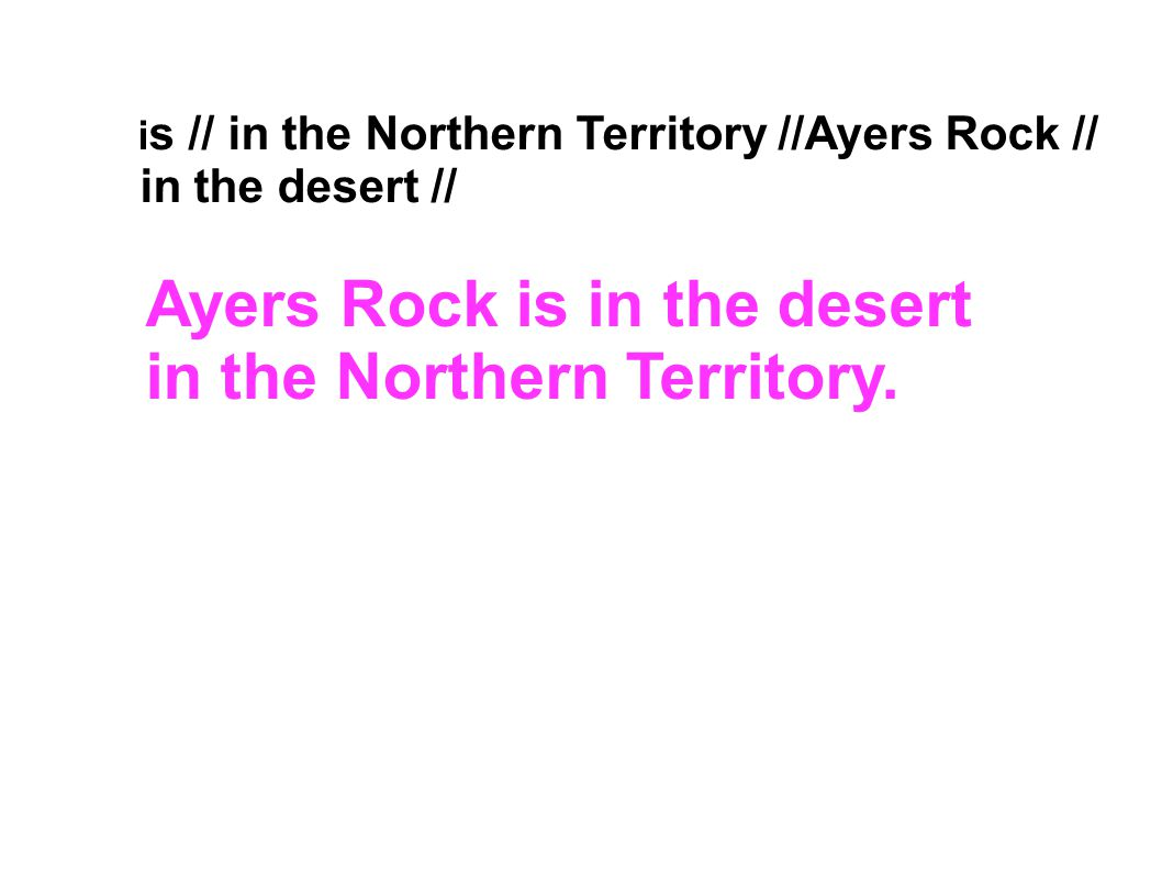 Ayers Rock is in the desert in the Northern Territory.