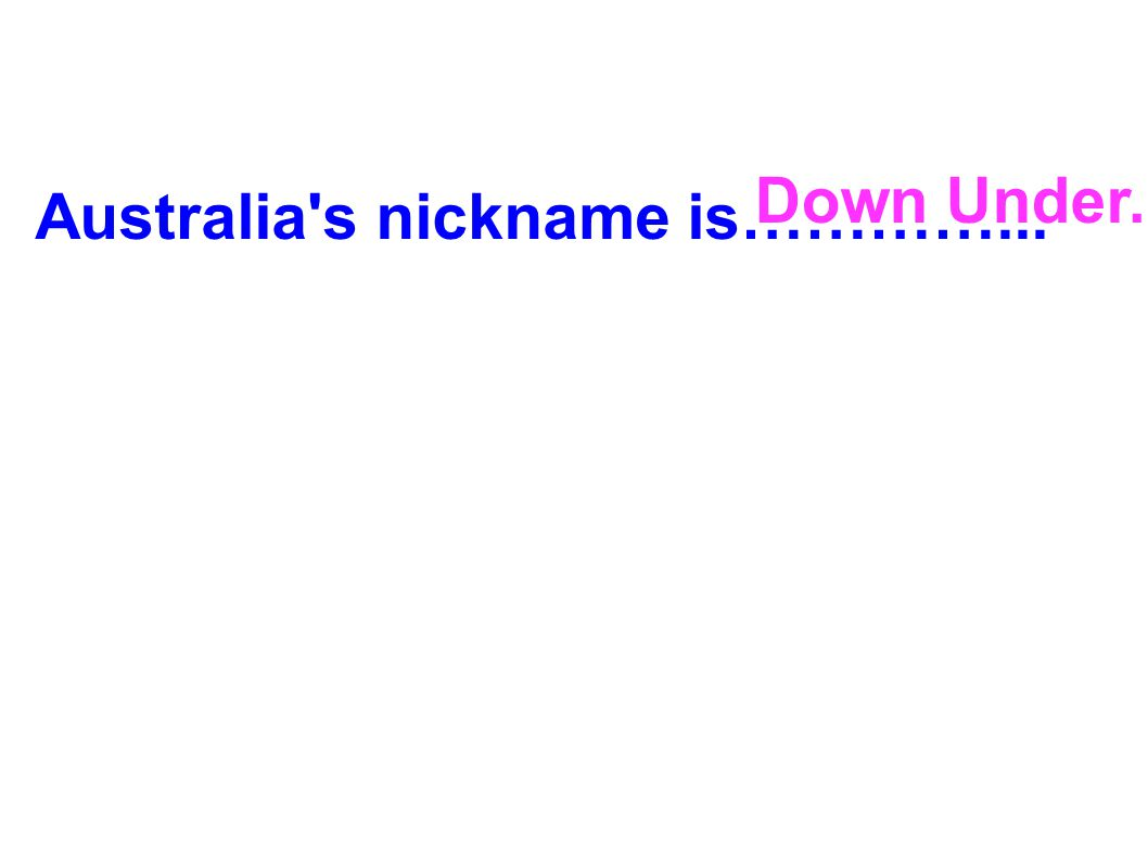 Down Under. Australia s nickname is…………...