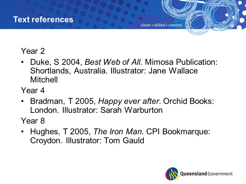 Text references Year 2. Duke, S 2004, Best Web of All. Mimosa Publication: Shortlands, Australia. Illustrator: Jane Wallace Mitchell.