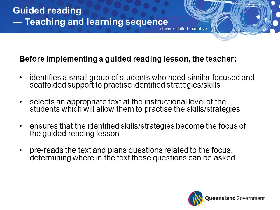 Guided reading — Teaching and learning sequence