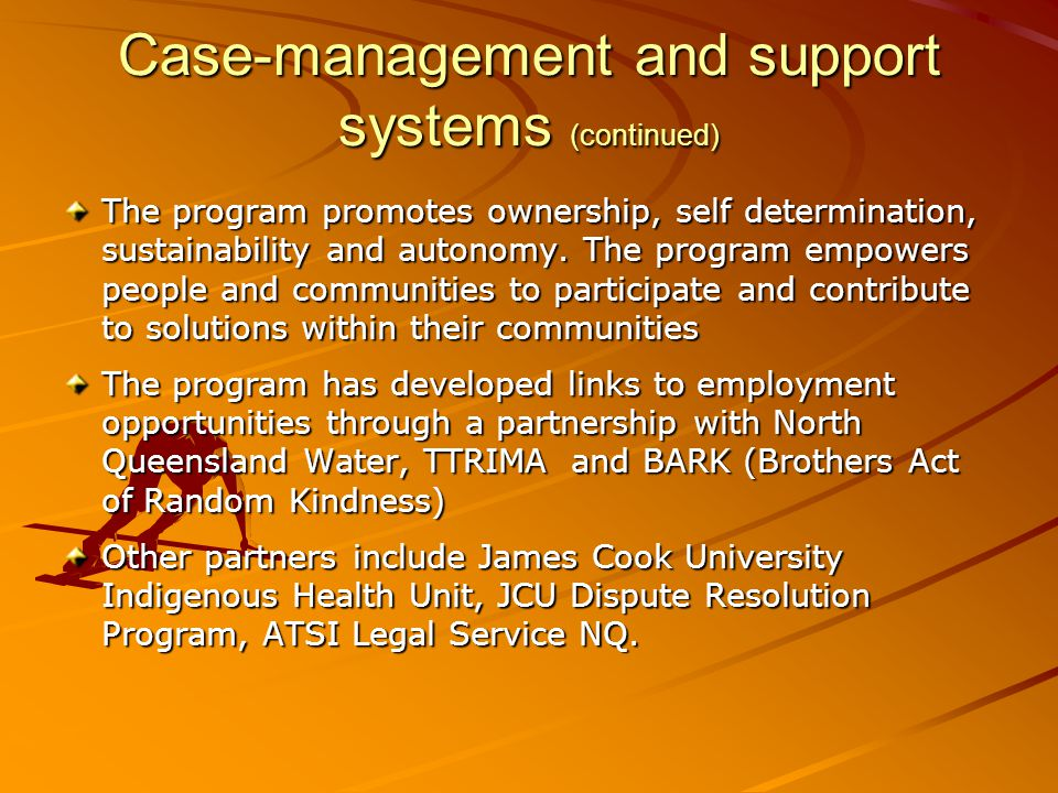 Case-management and support systems (continued)