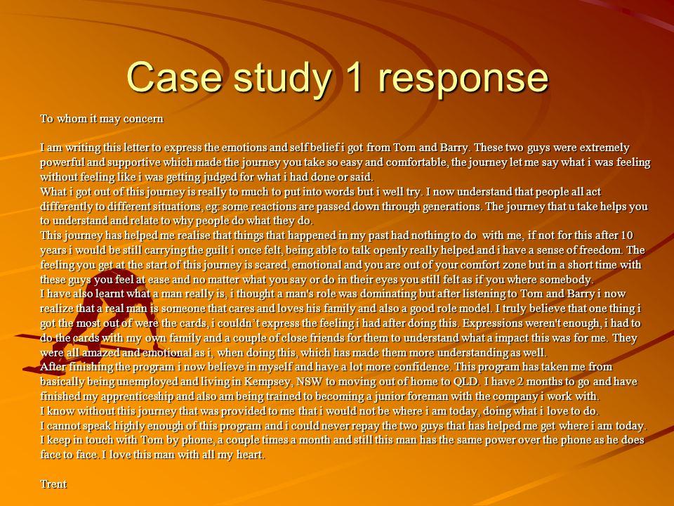 Case study 1 response