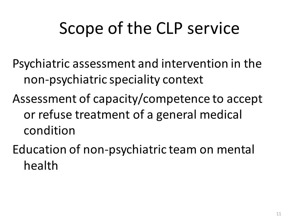 Scope of the CLP service