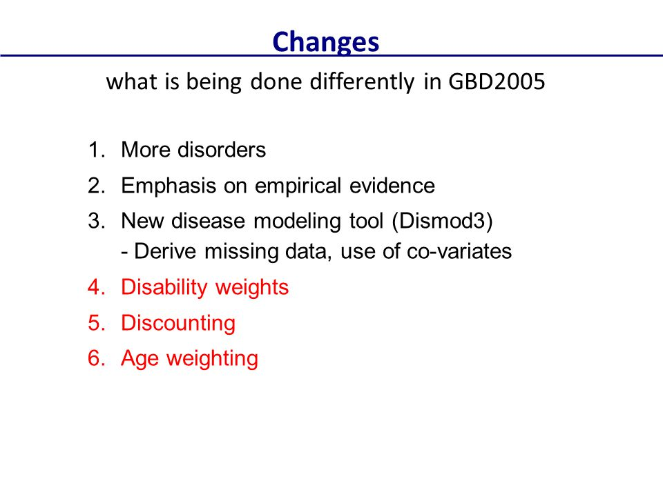 what is being done differently in GBD2005